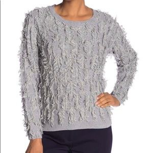 Vince Camuto fringe sweater heather gray - L NWT